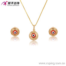63595-Xuping Nice design evil eye pendant earring price gold set jewelry