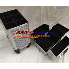 Heavy Duty Aluminum Cosmetic Organizer Box with Wheels