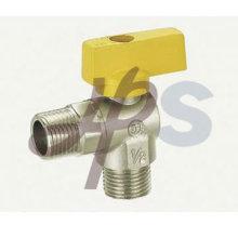 латунный угловой газовый шаровой клапан с алюминиевой ручкой