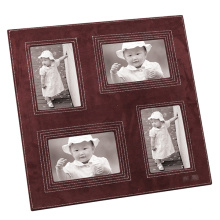 Cadre photo en cuir avec ouverture multiple