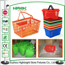 Double Handle Portable Plastic Shopping Basket for Supermarket
