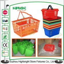 Duplo punho plástico portátil cesta de compras para supermercado