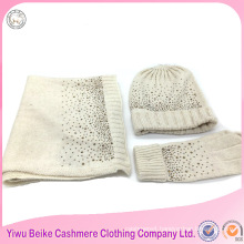Wholesale popular style wool material lady winter knitted hat scarf set for girls