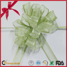 Organza POM POM Pull Bow with Green Color