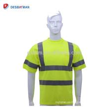 Camisas de encargo de las mangas cortas de Hi Viz con la camiseta de la seguridad de la alta visibilidad del bolsillo con las cal reflexivas de las cintas de los 5cm EN471