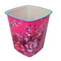 Rote Plastikblume Gedruckt Offener Müllbehälter (B06-3051-3)