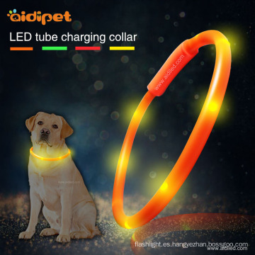 Collar de perro llevado recargable del tubo del usb del silicón