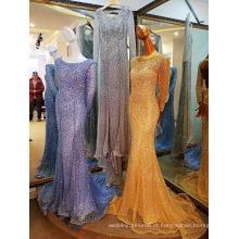 LS75221 Pérolas de ouro de manga comprida melhor vestido para festa de despedida Mulher muçulmana Vestido de noite formal de ouro