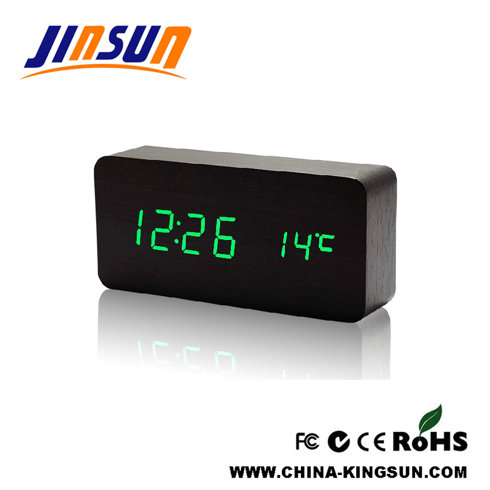 Modern Wood Led Clock With Temperature Display