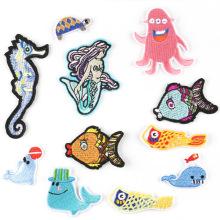 Patch de broderie de repassage d'aquarium de dessin animé