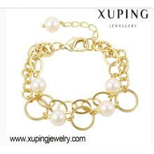 Fashion Xuping Charm Pearl 14k Pulsera de mujer de imitación chapada en oro-74323