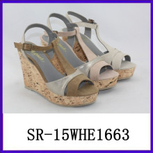 Hot selling wadge sandal shoes ladies summer sandals lady sandals 2015