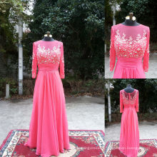 NW-469 Beaded Top Long Sleeves Chiffon Evening Dress