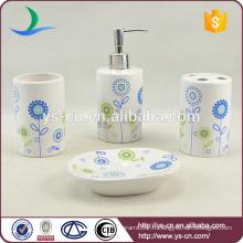 Ensemble d'accessoires de salle de bain en céramique décoratif de logo personnalisé