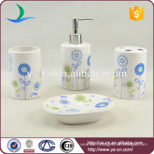Customized Logo Decal Ceramic Bathroom Accessory Set