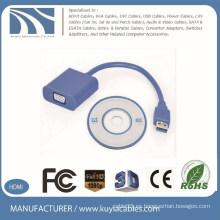 Muestra libre VGA azul vendedor caliente al adaptador USB3.0 usb3.0 al adaptador del monitor del vga