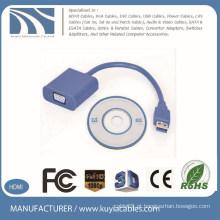 Grátis VGA azul de venda quente para USB3.0 adaptador usb3.0 para adaptador de monitor vga