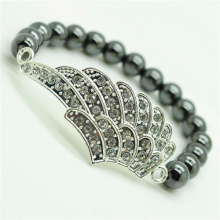 Hematite 8MM Round Beads Stretch Gemstone Bracelet with Diamante alloy big wing Piece