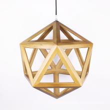Artistic Wood Geometric Solid Wood Pendant Lamp Cafe Bar Chandelier
