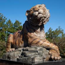 Aménagement paysager statues de jardin en pierre sculpture de tigre de marbre