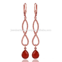 Red Onyx & A beautiful 18K Rose Boucles d'oreilles plaqué or Leverback Design