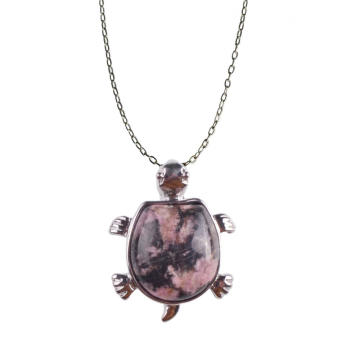 Wholesale Cute Turtle Rhodochrosite Stone Pendant Necklace