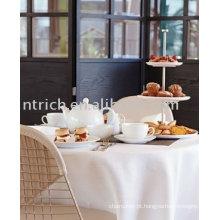 Toalha de mesa do poliéster de 100%, tampa da mesa do hotel / banquete, linho de tabela