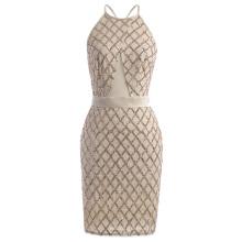 Kate Kasin Sequined Sleeveless Halter Neck Cross Back Sexy Cocktail Dress KK001061-1