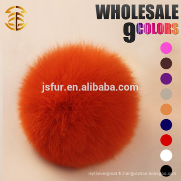 2015 New Year Product Fur Accessoires Lovely Fur Pompom Keychain Véritable Coloré en gros 8cm Rabbit Fur Balls