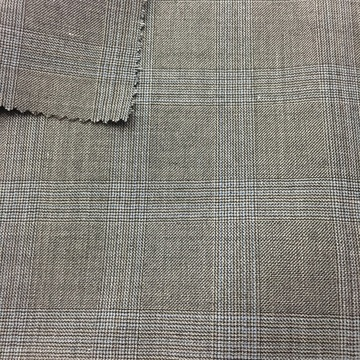 Grey Check Worsted Woven Fabric