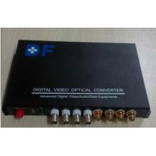 4 canales de vídeo + 4 canales de audio multiservicio óptico convertidor / transceptor