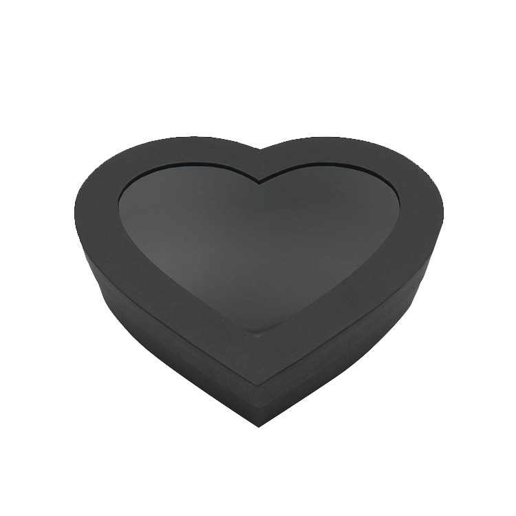 Black Heart Shape Gift Box With Clear Window