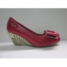 2016 moda de salto alto senhoras chunky vestir sapatos (hyy03-106)