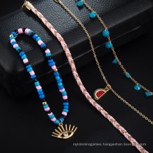 New Creative Hand-Woven Foot Rope Watermelon Rice Beads Diamond Eye Pendant 4 Sets of Female Anklets