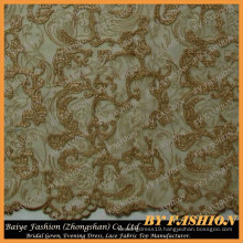 Gold Threads Embroidery Lace Fabric Use Home Fashion and Bridal Dress Lace No.CA406