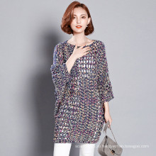 Леди мода красочные акриловые полиэстер трикотажные Hollow пуловер (YKY2057)