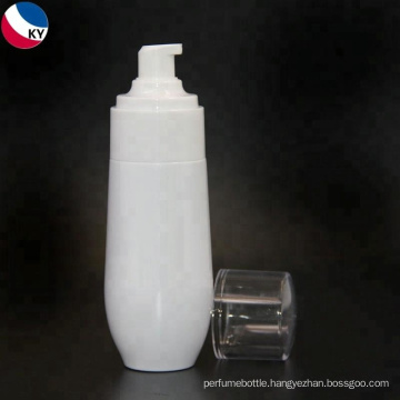 Unique shape earled white cosmetic plastic bottle use to skincare cream packaging