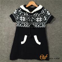 हिमपात का एक खंड Jacquard लड़की के लिए के साथ लंबे खंड स्वेटर