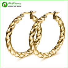 Rolled 24k gold plate Twist Roud Hoop Earring