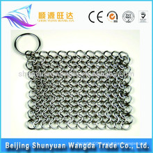 Food grade chain mail cast iron pan scrubber
