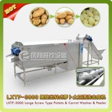 Grand type laveuse et éplucheuse en spirale de légumes, lavage de pommes de terre, machine d'épluchage Lxtp-3000