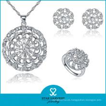 Juego de joyería de plata plana promocional con precio barato (J-0059)
