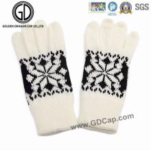Las mujeres de las señoras encantadoras moda invierno guantes de punto caliente