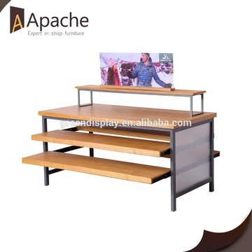 2015 hot sell wood Multilayer display shelf for retail shop