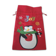 Drawstring Gift Pouches, Drawstring with Embroidery, Made of Corduroy, Measures 7x11.75 Inches