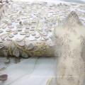 Tecido de renda nigeriano fúcsia para vestido de noiva