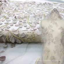 Tela de encaje nigeriano fucsia para vestido de novia