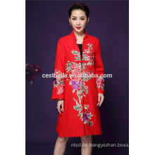 Cestbella Qualitäts-Herbst u. Frühling Liyuan Art-elegante lange Hülse druckte Blumen-Frauen-Mantel