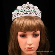 Grande clara de pedra tiara casamento strass coroa
