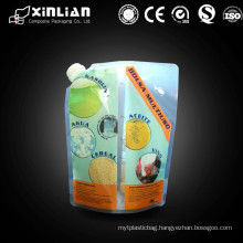 Hot sale Plastic stand up spout pouch for juice ,drink,beverage packaging with top/corner spout
